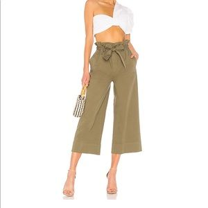 Paper Bag Trouser in Deep Army Green FRAME